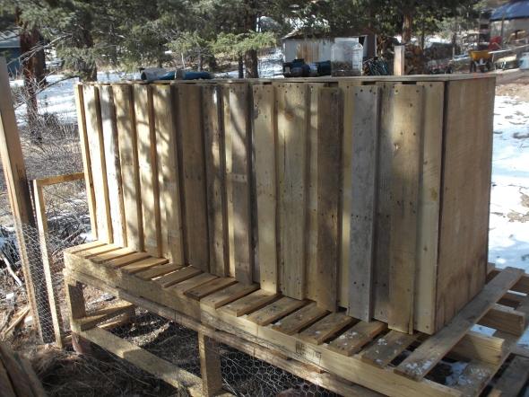 using batten boards on a pallet chicken coop