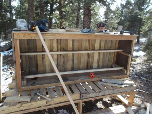 adding roosts to a pallet chicken coop
